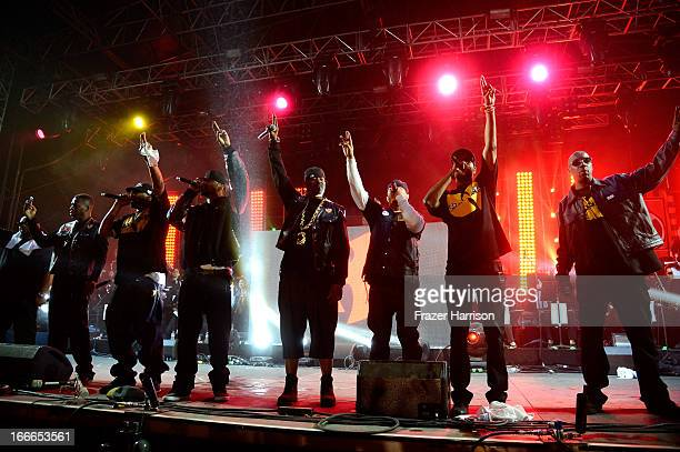 WuTang Clan performs onstage during day 3 of the 2013 Coachella Valley Music Arts Festival at the Empire Polo Club on April 14 2013 in Indio...