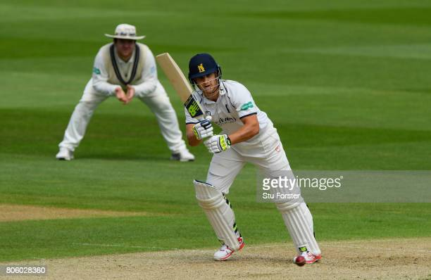 Wwarwickshire batsman Sam Hain picks up some runs during day one of the Specsavers County Championship Division One match between Warwickshire and...