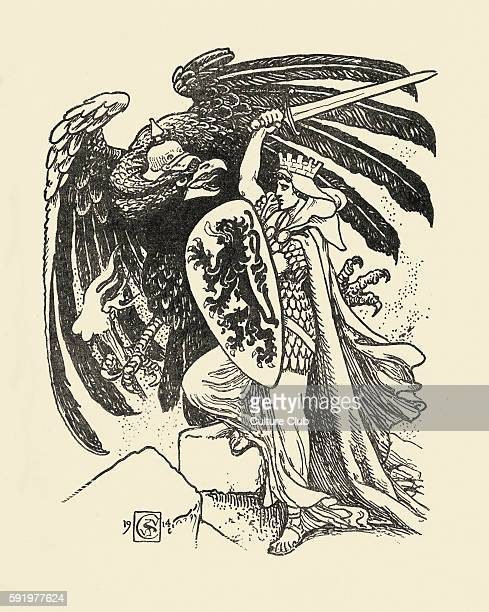 WWl Belgium fighting metaphorical German eagle By Walter Crane Defending Right without reproach or fear As Kindred with the herorace of old' Drawing...