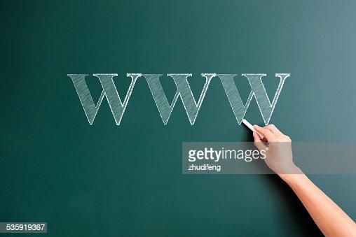 www written on blackboard : Stock Photo