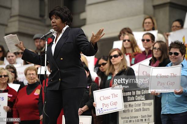 Wy Livingston owner of Wystones World Teas speaks during the Annual Equal Pay Day Rally at the Capitol with pay equity advocates businesspeople and...
