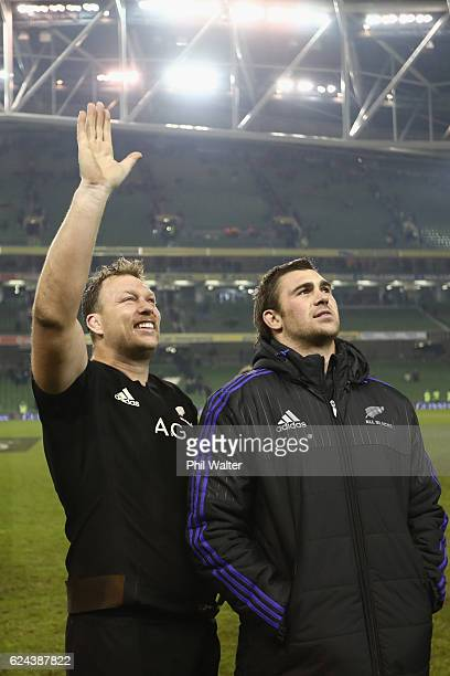 Wyatt Crockett and Liam Squire of the All Blacks following the international rugby match between Ireland and the New Zealand All Blacks at Aviva...