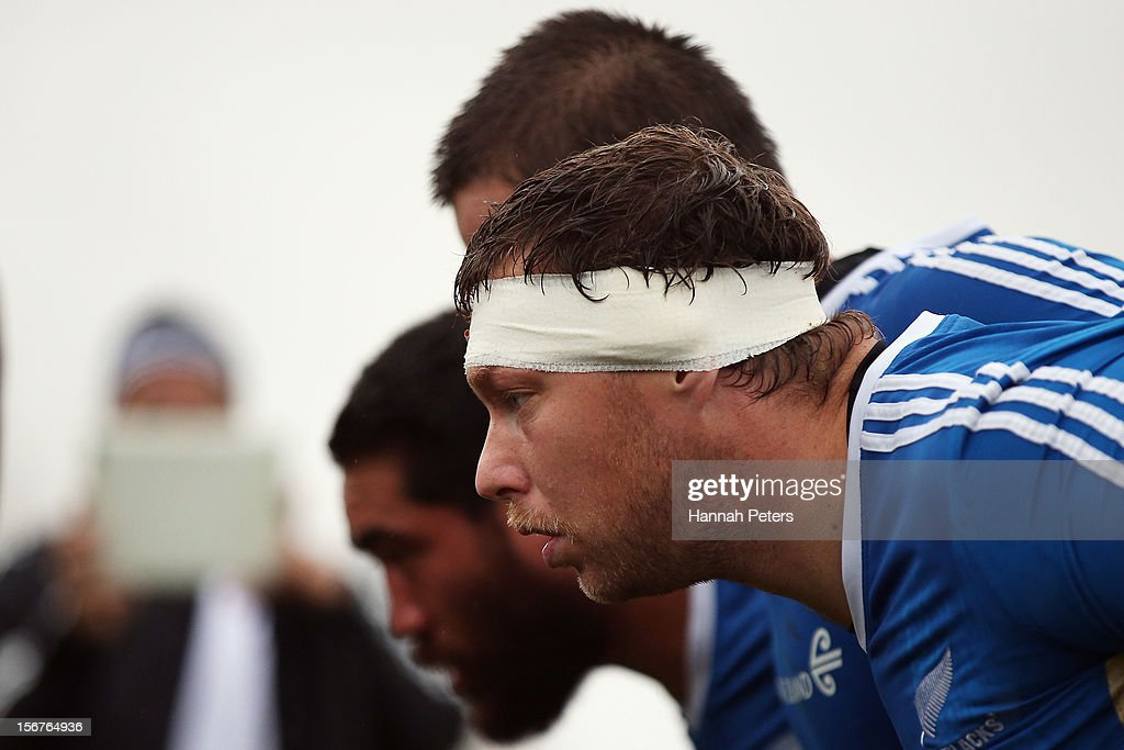 <a gi-track='captionPersonalityLinkClicked' href=/galleries/search?phrase=Wyatt+Crockett&family=editorial&specificpeople=699696 ng-click='$event.stopPropagation()'>Wyatt Crockett</a> of the All Blacks packs down for scrum drills during a training session at the University of Glamorgan training fields on November 20, 2012 in Cardiff, Wales.