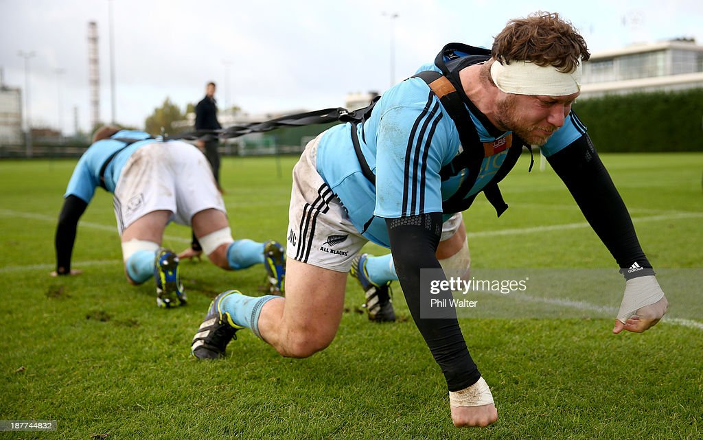 Wyatt Crockett of the All Blacks practices his scrum technique during a New Zealand All Blacks training session at Latymers Upper School on November 12, 2013 in London, England.