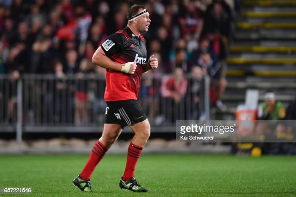 Wyatt Crockett of the Crusaders looks on during the round five Super Rugby match between the Crusaders and the Force at AMI Stadium on March 24 2017...
