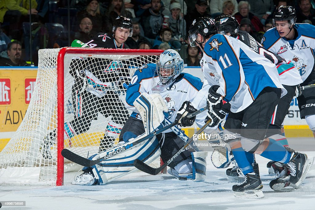 Wyatt Hoflin #30 of Kootenay Ice makes a save against the Kelowna Rockets during the first period on December 2, 2015 at Prospera Place in Kelowna, British Columbia, Canada.