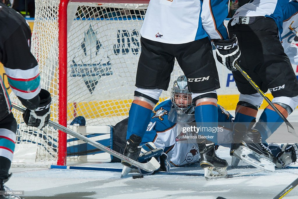 Wyatt Hoflin #30 of Kootenay Ice makes a save during first period against the Kelowna Rockets on December 2, 2015 at Prospera Place in Kelowna, British Columbia, Canada.