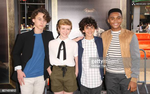 Wyatt Oleff Sophia Lillis Jack Dylan Grazer and Chosen Jacobs arrive at the Los Angeles premiere of New Line Cinema's 'Annabelle Creation' held at...