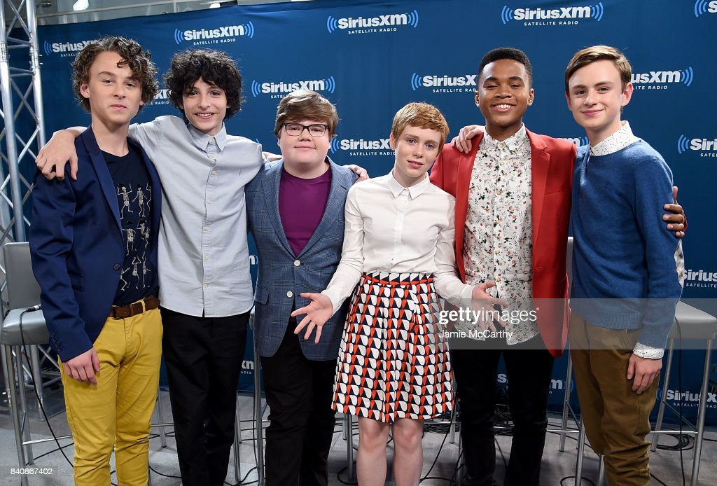 Wyatt Oleff,Finn Wolfhard,Jeremy Ray Taylor,Sophia Lillis,Chosen Jacobs and Jaeden Lieberher from the cast of 'It' visit SiriusXM at the SiriusXM Studios on August 30, 2017 in New York City.