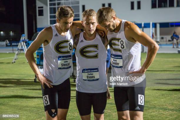 Wyatt Sander Luke Stenzel Parker Evans from Emporia State hold each other up after the men's 4x400 relayThe Saint Augustine Men and West Texas AM...
