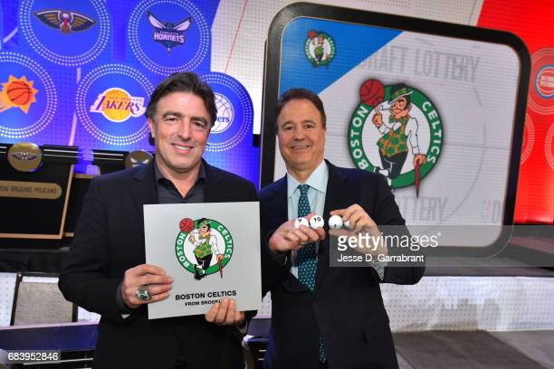 Wyc Grousbeck and Stephen Pagliuca of the Boston Celtics pose for a photo after getting the pick during the 2017 NBA Draft Lottery at the New York...