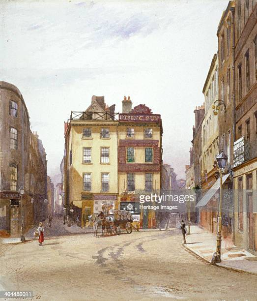 Wych Street and Holywell Street Westminster London 1881 View showing the Rising Sun tavern Wych Street In front of the tavern is a cart of beer...