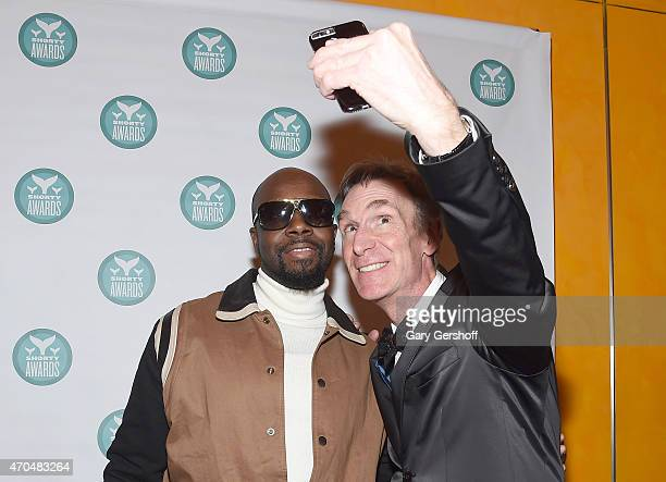 Wyclef Jean and Bill Nye backstage during the 7th Annual Shorty Awards on April 20 2015 in New York City