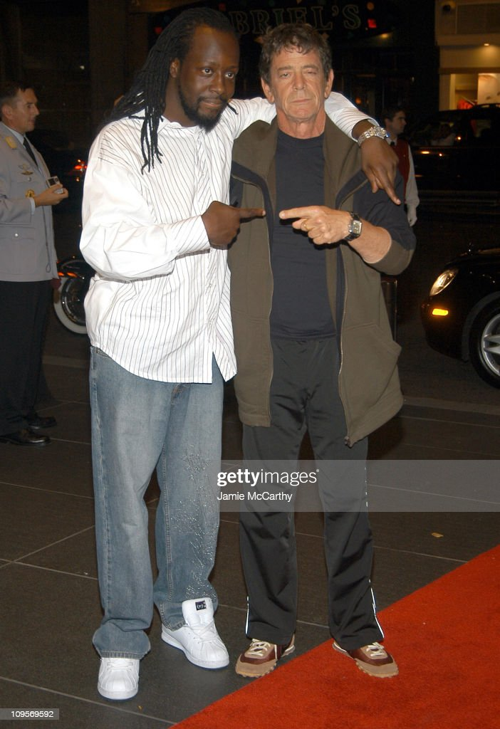 Wyclef Jean and Lou Reed during The ACLU Freedom Concert - After Party Arrivals - October 4, 2004 at Mandarin Orient in New York City, New York, United States.
