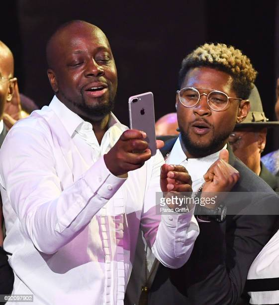 Wyclef Jean and Usher onstage at the 2017 Andrew Young International Leadership Awards and 85th Birthday Tribute at Philips Arena on June 3 2017 in...