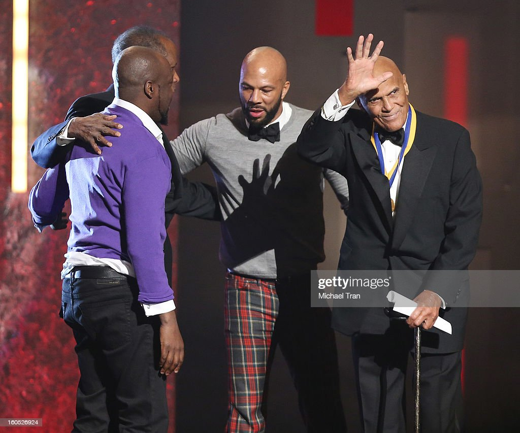 Wyclef Jean, Common, Sidney Poitier and Harry Belafonte onstage at the 44th NAACP Image Awards - show held at The Shrine Auditorium on February 1, 2013 in Los Angeles, California.