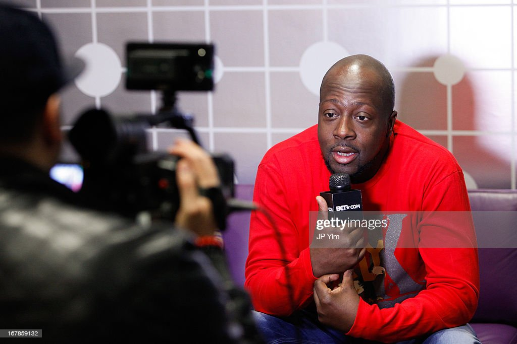 <a gi-track='captionPersonalityLinkClicked' href=/galleries/search?phrase=Wyclef+Jean&family=editorial&specificpeople=171115 ng-click='$event.stopPropagation()'>Wyclef Jean</a> gives an interview backstage at BET's 106 & Park at BET Studios on May 1, 2013 in New York City.