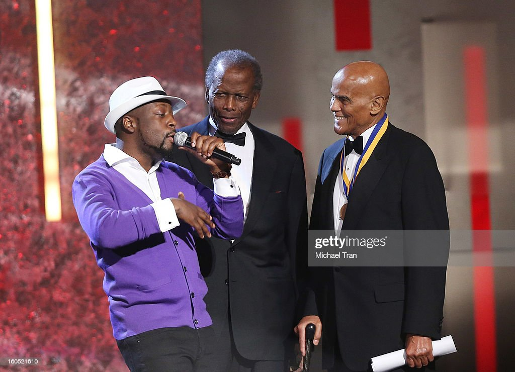 Wyclef Jean, Sidney Poitier, Harry Belafonte onstage at the 44th NAACP Image Awards - show held at The Shrine Auditorium on February 1, 2013 in Los Angeles, California.