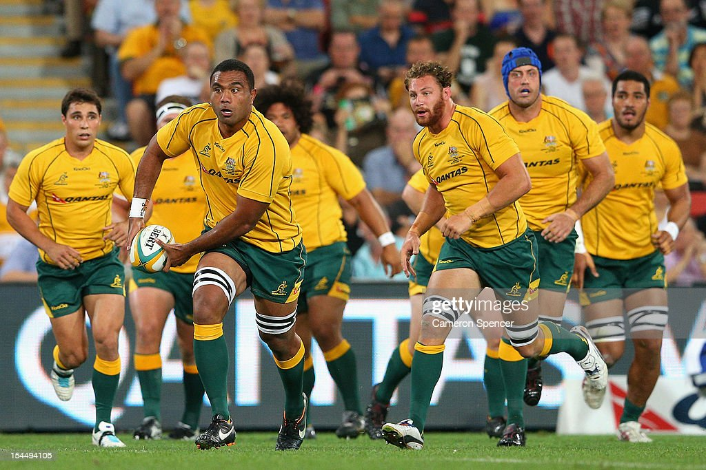 Wycliff Palu of the Wallabies runs the ball during the Bledisloe Cup match between the Australian Wallabies and the New Zealand All Blacks at Suncorp Stadium on October 20, 2012 in Brisbane, Australia.