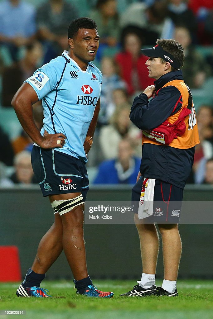 <a gi-track='captionPersonalityLinkClicked' href=/galleries/search?phrase=Wycliff+Palu&family=editorial&specificpeople=546321 ng-click='$event.stopPropagation()'>Wycliff Palu</a> of the Waratahs grimaces as he speaks to the trainer during the round three Super Rugby match between the Waratahs and the Rebels at Allianz Stadium on March 1, 2013 in Sydney, Australia.