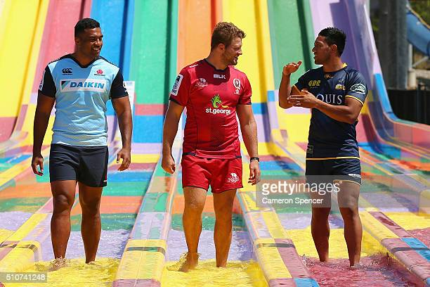 Wycliff Palu of the Waratahs James Slipper of the Reds and Christian Lealiifano of the Brumbies talk during the 2016 Super Rugby Australian season...