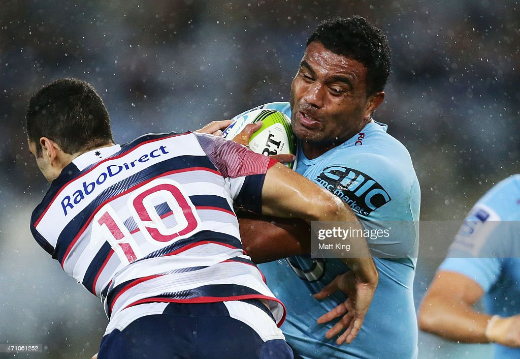 Wycliff Palu of the Waratahs takes on the defence during the round 11 Super Rugby match between the Waratahs and the Rebels at ANZ Stadium on April 25, 2015 in Sydney, Australia.