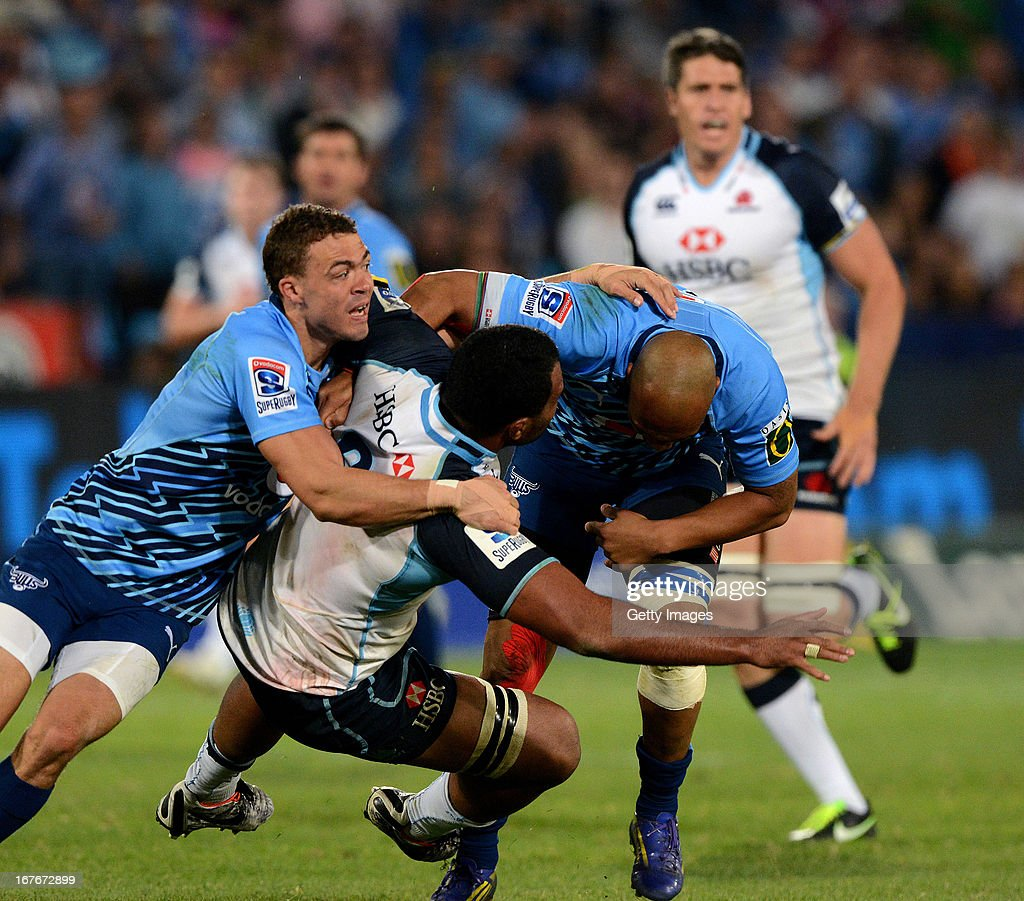 Wycliff Palu of Waratahs gets tackled during the Super Rugby match between Vodacom Bulls and Waratahs at Loftus Versveld on April 27, 2013 in Pretoria, South Africa.