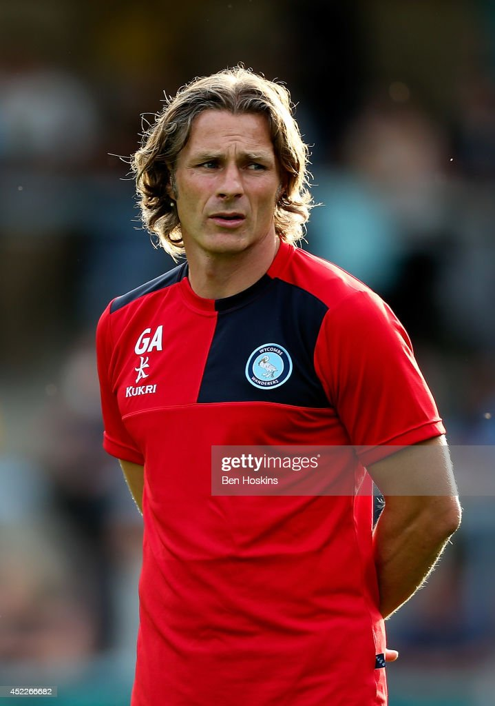 Wycombe manager Gareth Ainsworth looks on ahead of the pre season friendly match between Wycombe Wanderers and Chelsea at Adams Park on July 16, 2014 in High Wycombe, England.