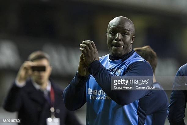 Wycombe Wanderers' Adebayo Akinfenwa looks dejected after the Emirates FA Cup Fourth Round match between Tottenham Hotspur and Wycombe Wanderers at...