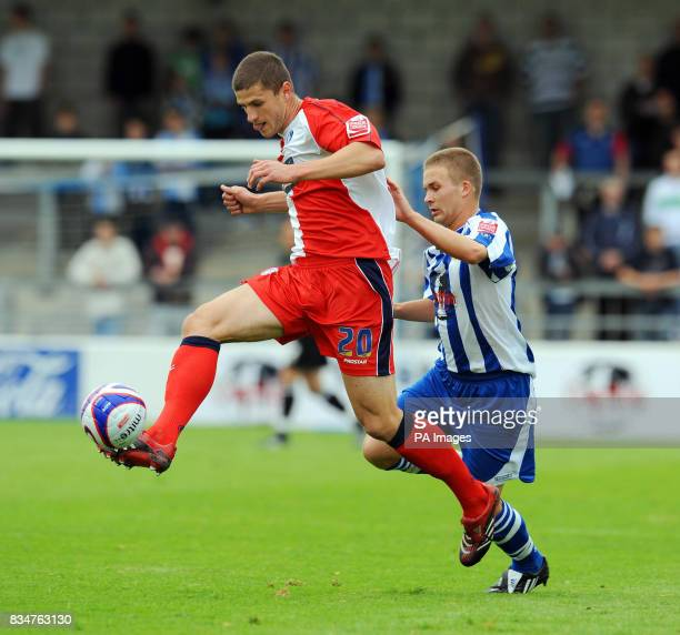 Wycombe Wanderers' John Mousinho breaks into the Chester City half during the CocaCola Football League Two match at the Deva Stadium Chester