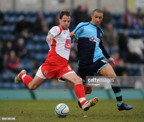 Wycombe Wanderers' Lewis Montrose and Stevenage Borough's Luke Foster during the npower Football League Two match at Adams Park High Wycombe