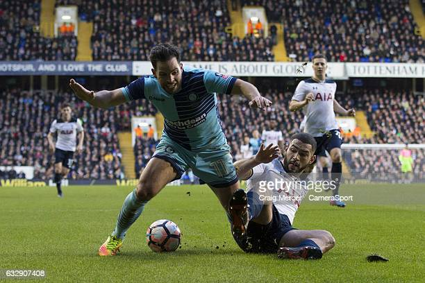 Wycombe Wanderers' Sam Wood goes down under the challenge of Tottenham Hotspur's Cameron CarterVickers to win a penalty during the Emirates FA Cup...