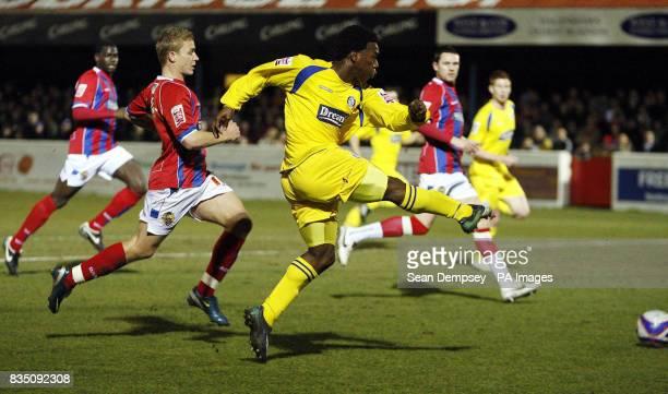 Wycombe Wanderes' JonPaul Pittman has a shot on goal during the CocaCola League Two match at the LB Barking Dagenham Stadium Dagenham London