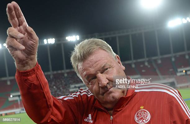 Wydad Athletic Club's coach John Toshack reacts after his team won the match agaist Asec Mimosas club during the 20th edition of CAF Champion League...