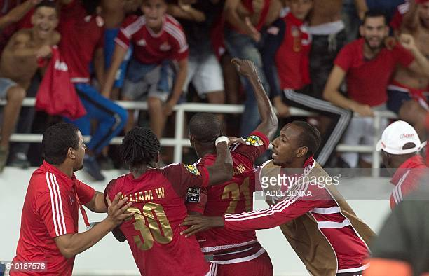 Wydad Athletic Club's Fabrice Nguessi Ondama celebrates after scoring a goal during the CAF Champions League semifinal between Wydad Athletic Club...