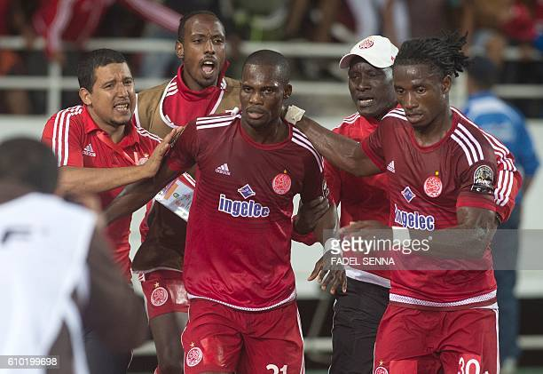Wydad Athletic Club's Fabrice Nguessi Ondama celebrates his goal during the CAF Champions League semifinal between Wydad Athletic Club and Zamalek...