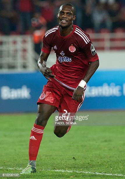 Wydad Athletic Club's William W Jebor runs during the CAF Champions League semifinal between Wydad Athletic Club and Zamalek Sporting Club on...