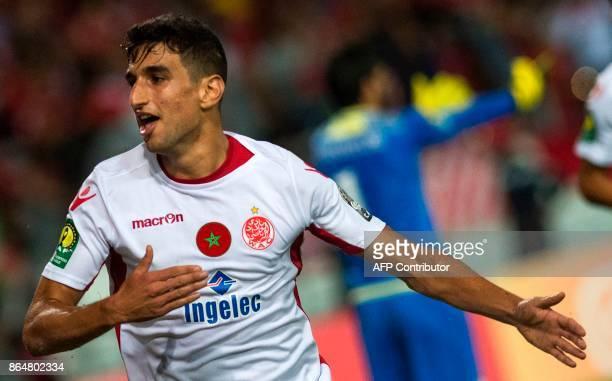 Wydad Casablanca player Walid El Karti celebrates his goal against USM Alger during the CAF Champions league semifinal on October 21 at Mohamed VI...