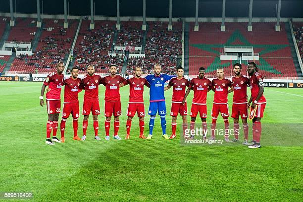 Wydad Casablanca players pose for a team photo prior to the Group A match of CAF Champions League between Wydad Casablanca and ASEC at the Prince...