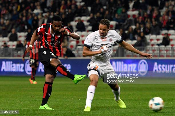 Wylan Cyprien of Nice and Daniel CONGRE of Montpellier during the French Ligue 1 match between Nice and Montpellier on February 24 2017 in Nice France