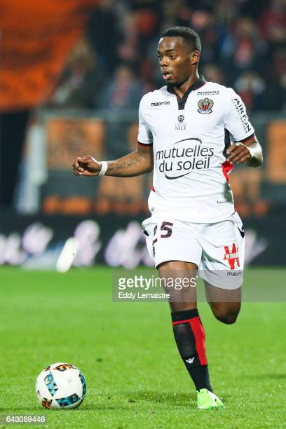 Wylan Cyprien of Nice during the French Ligue 1 match between Lorient and Nice at Stade du Moustoir on February 18 2017 in Lorient France