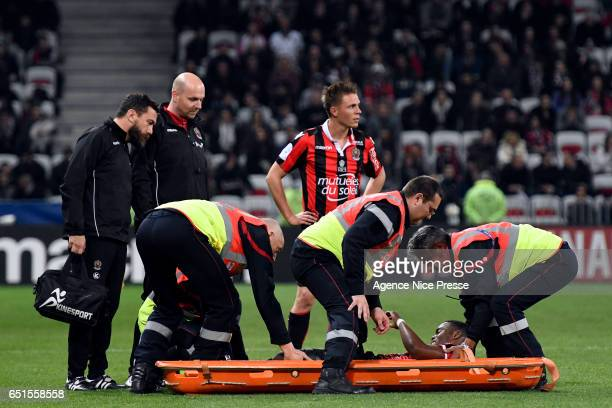 Wylan Cyprien of Nice during the Ligue 1 match between OGC Nice and SM Caen at Allianz Riviera on March 10 2017 in Nice France