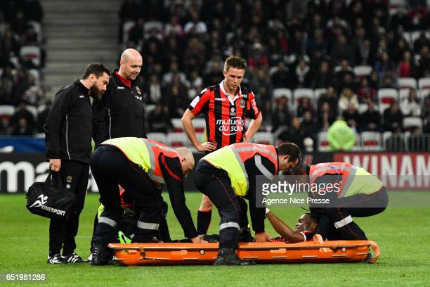 Wylan Cyprien of Nice injured during the Ligue 1 match between OGC Nice and SM Caen at Allianz Riviera on March 10 2017 in Nice France