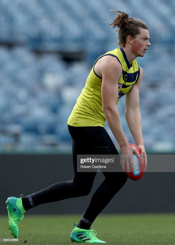 Wylie Buzza of the Cats lines up a kick during a Geelong Cats AFL training session at Simonds Stadium on August 17, 2017 in Geelong, Australia.