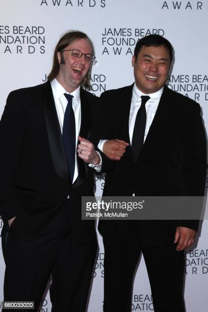 Wylie Dufresne and David Chang attend The 2009 JAMES BEARD FOUNDATION AWARDS at Avery Fisher Hall at Lincoln Center on May 4 2009 in New York City