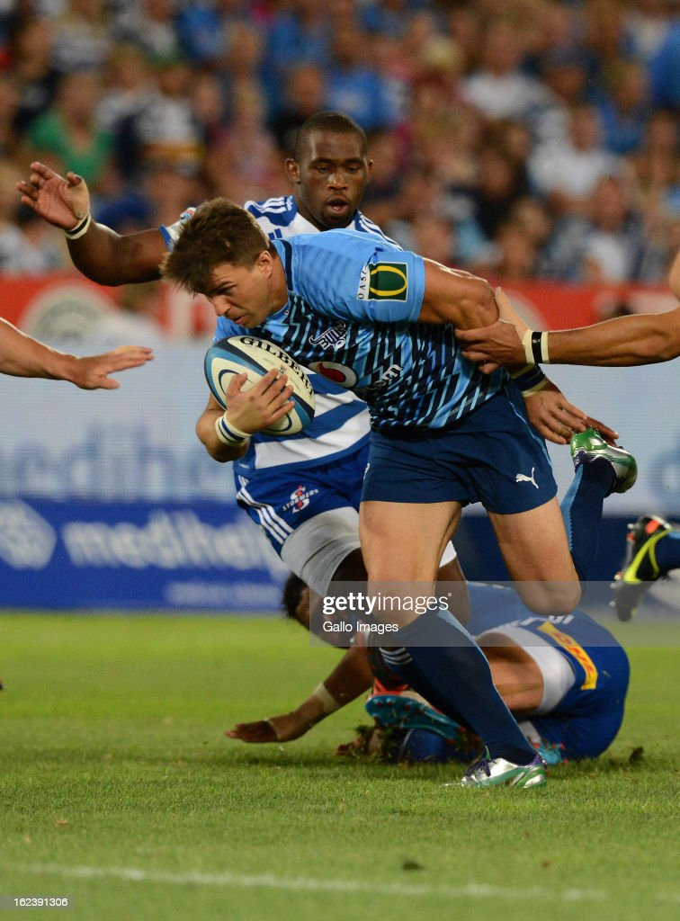<a gi-track='captionPersonalityLinkClicked' href=/galleries/search?phrase=Wynand+Olivier&family=editorial&specificpeople=540920 ng-click='$event.stopPropagation()'>Wynand Olivier</a> of the Bulls attacks during the Super Rugby match between Vodacom Bulls and DHL Stormers from Loftus Versfeld Stadium on February 22, 2013 in Pretoria, South Africa.