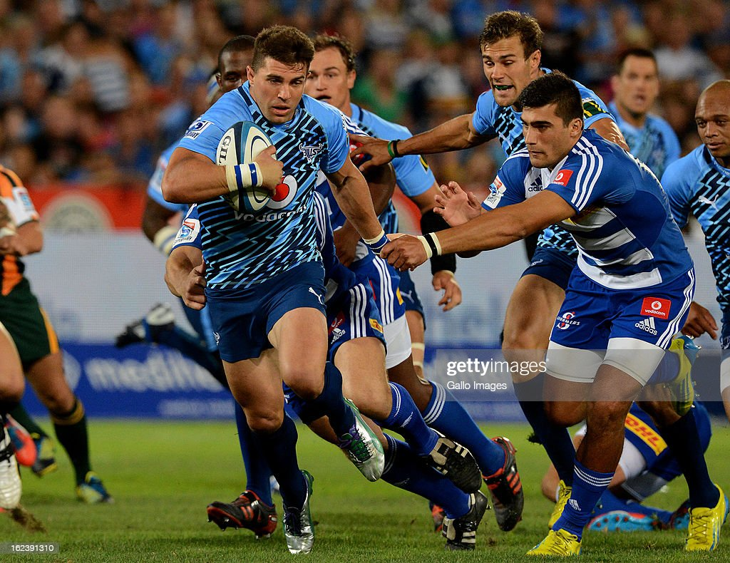 Wynand Olivier of the Bulls breaks the line during the Super Rugby match between Vodacom Bulls and DHL Stormers from Loftus Versfeld Stadium on February 22, 2013 in Pretoria, South Africa.