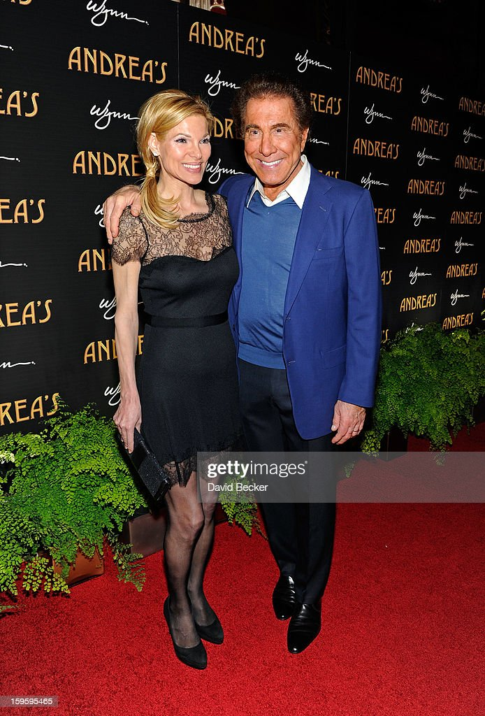 Wynn Resorts Chairman and CEO <a gi-track='captionPersonalityLinkClicked' href=/galleries/search?phrase=Steve+Wynn&family=editorial&specificpeople=696427 ng-click='$event.stopPropagation()'>Steve Wynn</a> (R) and his wife, Andrea Wynn, arrive for the grand opening celebration at Andrea's at the Wynn Las Vegas on January 16, 2013 in Las Vegas, Nevada.