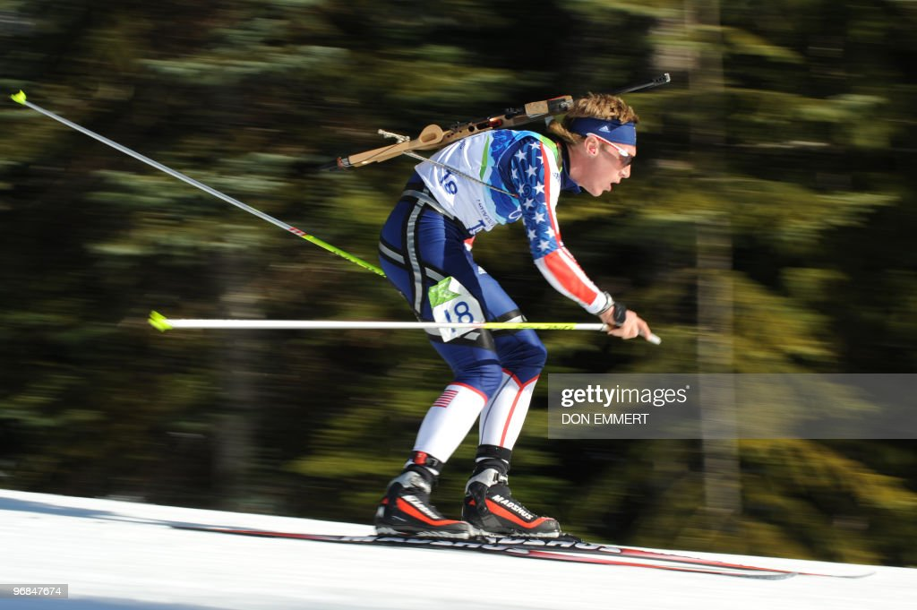 Wynn Roberts of the US competes during the men's Biathlon 20 km individual at the Whistler Olympic Park during the Vancouver Winter Olympics on February 18, 2010. AFP PHOTO / DON EMMERT