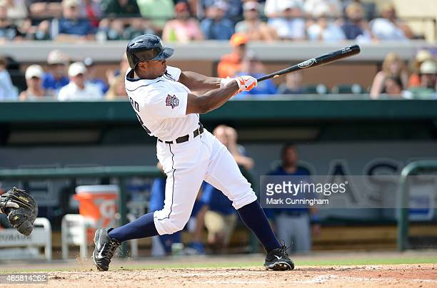 Wynton Bernard of the Detroit Tigers bats during the Spring Training game against the Toronto Blue Jays at Joker Marchant Stadium on March 9 2015 in...
